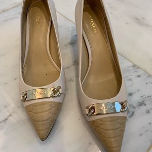 Coach light cream pumps with tan snakeskin cap toe